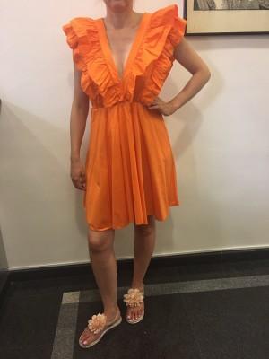 Obleka Volani oranžna